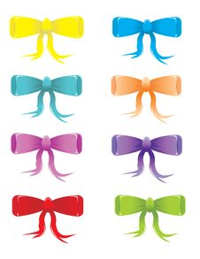 Stylized Colored Bows Royalty Free Stock Photos