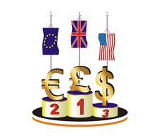 Free Currency Race In Difficult Economic Times Royalty Free Stock Images - 8638689