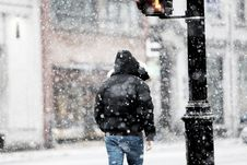 Free Man Walk In The Storm Royalty Free Stock Images - 86304209