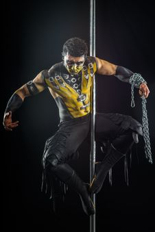 On The Pole Bodyart Scorpion Stock Image