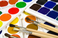Free Set Of Brushes And Water Colour Paints Stock Photography - 8642422