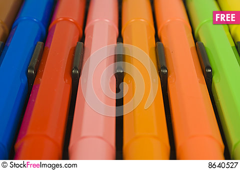 Free Children S Color Felt-tip Pens Royalty Free Stock Photography - 8640527