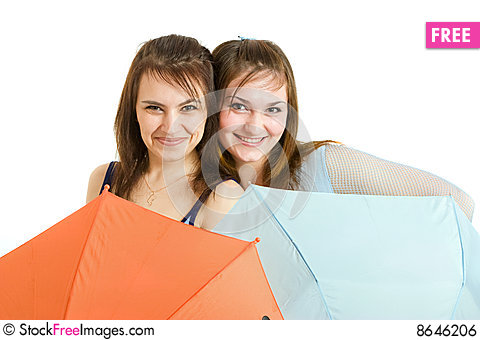 Free Two Girl With Umbrella Royalty Free Stock Image - 8646206