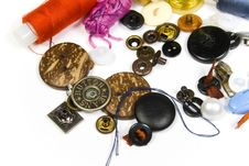 Buttons And Strings Close Up Stock Photo