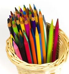 Set Of Color Wooden And Woodless Pencils Royalty Free Stock Image