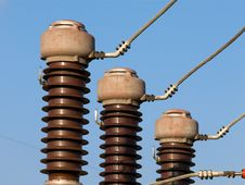 Free Electrical Substation Insulators Stock Photography - 8641222
