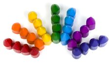 Seven Numbers Of Wax Pencils Royalty Free Stock Images