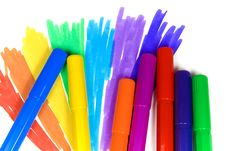 Free Seven Felt-tip Pens Royalty Free Stock Images - 8641319