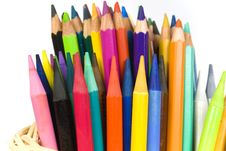 Set Of Color Wooden And Woodless Crayons Stock Images