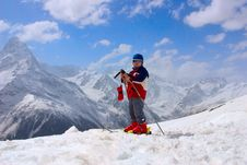 Baby Mountain-skier Stock Photo