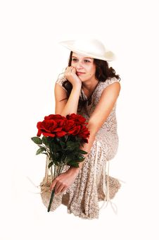 Free Woman With Hat And Roses. Stock Photo - 8641420