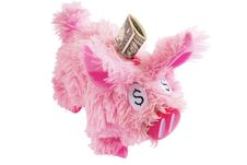 Free Pink Furry Piggy Bank Isolated On White Stock Photography - 8641422