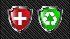 Free Red And Green Shield Royalty Free Stock Images - 8641659