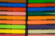 Color Felt-tip Pens With Caps Stock Image