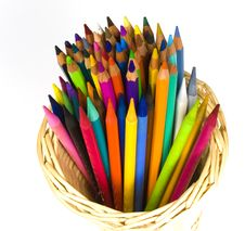 Color Wooden And Woodless Crayons Stock Images