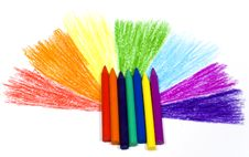 Rainbow With Wax Pencils Stock Photos