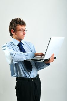 Free Businessman Using Laptop Stock Photography - 8642272