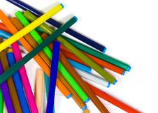 The Children S Color Felt-tip Pens Heaped Royalty Free Stock Photo