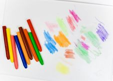 Free Eight Oil Pencils On A White Plastic Board Royalty Free Stock Photography - 8643077