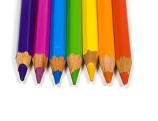 Pencils Of Seven Colors Royalty Free Stock Photo