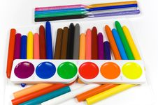 Free Fluorescent Paints, Oil Pencils And Wax Crayons Royalty Free Stock Image - 8645356