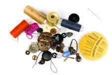 Set Of Buttons, Needles, Strings Royalty Free Stock Photography
