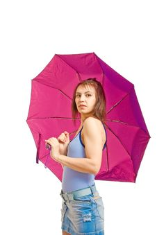 Free Girl With Umbrella Stock Photography - 8646062