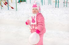 Free Little Girl On Winter Playground. Royalty Free Stock Photos - 8646078