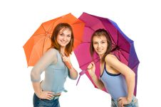 Free Two Girl With Umbrella Royalty Free Stock Images - 8646109