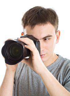 Young Photographer With Camera Royalty Free Stock Photos