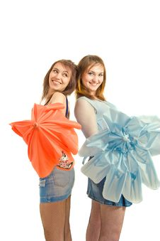 Free Two Girl With Umbrella Royalty Free Stock Image - 8646136