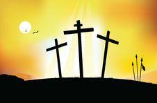 Free The Crucifixion - Sunset Scene Stock Image - 8646221