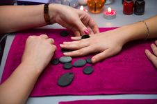A Manicure Is In A Salon Royalty Free Stock Image