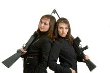 Two Gils With Guns Stock Images