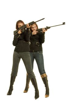 Free Two Gils With Guns Royalty Free Stock Photo - 8646455