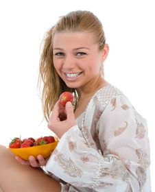 Free Beautiful Girl With Strawberry Stock Photos - 8646633