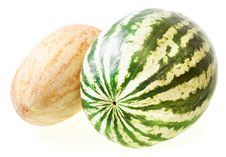 Free Melon & Watermelon Isolated On White Stock Image - 8646681
