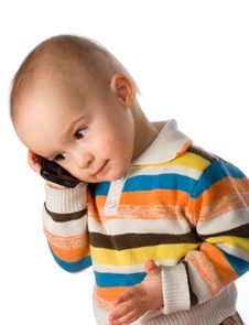 Free Boy Talking On Phone Stock Photography - 8646962