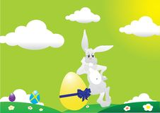 Free Little Easter Rabbit With Easter Eggs Royalty Free Stock Photos - 8647138