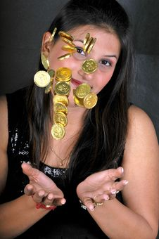 Free Girl With Gold Coins Royalty Free Stock Image - 8648196