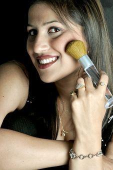 Free Girl With Makeup Brush Stock Photos - 8648573