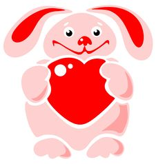 Happy Rabbit With Heart Royalty Free Stock Image