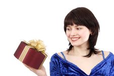 Free Woman With Gift. Stock Photo - 8649790