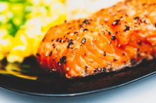 Free Grilled Piece Of Salmon Stock Photo - 86471860