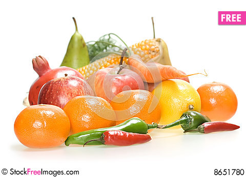 Free Vegetables & Fruits Isolated Stock Photo - 8651780