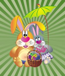 Easter Card With Dunnies And Basket Of Eggs Stock Images