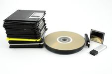 Free Cd, Floppy And Flash Memory Royalty Free Stock Photos - 8650598