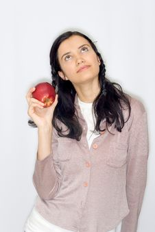 Free Young Woman Holding Apple Stock Photography - 8653312