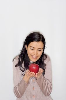 Free Young Woman Holding Apple Royalty Free Stock Image - 8653396