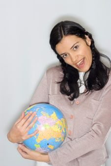 Free Woman With Globe Royalty Free Stock Image - 8653446